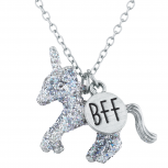 Silver Tone Silver Glitter Unicorn BFF Novelty Pendant Necklace