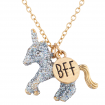 Gold Tone Silver Glitter Unicorn BFF Novelty Pendant Necklace