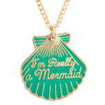 "Gold Tone Green ""Im Really a Mermaid"" Seashell Pendant Necklace"