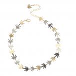 Tri Tone Marijuana 420 bud Weed Leaf Hippie Choker Necklace