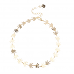GoldTone Marijuana Sideways Sign Weed Leaf Choker Necklace