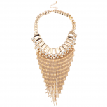 GoldTone Faux Rhinestone Waterfall Chain Statement Bib Necklace