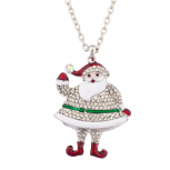 See Ya Santa XMAS Hanging Pendant Necklace Covered Rhinestones
