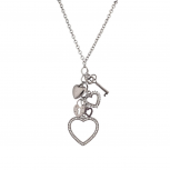 Long Chain Necklace with Dangle Heart Key Lock Charms