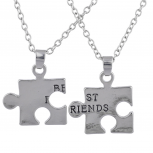 Silver Tone Best Friends BFF Piece a Puzzle Necklace Set 2PC