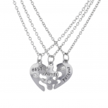 SilverTone Heart Best Friends BFF Piece Puzzle Necklace Set 3PC