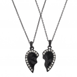 Black Best Friends BFF Necklace Rhinestone Studded Heart(2 PC)