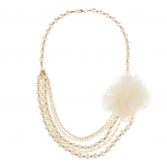 Faux Pearl Flower Chain Floral Statement Necklace
