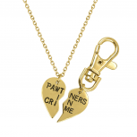 PAWtners In Crime Partners Best Friends BFF Pendant Necklace Matching Dog Tag Collar Keychain