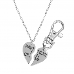 PAWtners In Crime Partners Best Friends BFF Pendant Necklace Matching Dog Tag Collar Keychain.