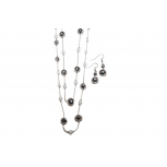 Faux Stone Faux Pearl Chain Necklace Matching Earrings