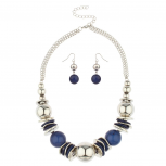 Blue Stone Bead Disc Statement Necklace Stone Beaded Earrings