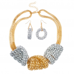 Mesh Metal Chunky Statement Necklace Matching Earrings White