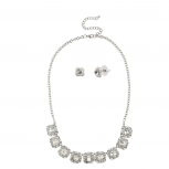 Bridal Pave Crystal Necklace Matching Stud Earrings