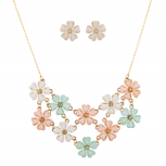 Multicolor Acrylic Flower Mini Statement Necklace Ring Set 2PC