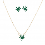 Gold Tone Marijuana Leaf Weed Weed Head Necklace Earring Set 2PC