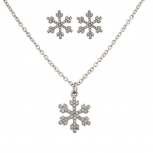Silvertone Holiday Christmas Winter Wonderland Earring Necklace