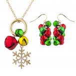 Goldtone Red Green Jingle Bells Snowflake Necklace Earring Set