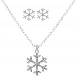 Silveetone Crystal Stone Holiday Snowflake Necklace Earring Set