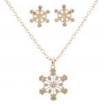 Goldtone Crystal Stone Holiday Snowflake Necklace Earring Set