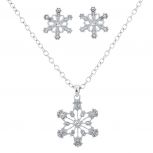 Silvertone Crystal Stone Holiday Snowflake Necklace Earring Set