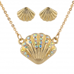 GoldTone AB Stone Seashell Pendant Necklace and Earrings Set 2PC
