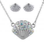 SilverTone AB Stone Seashell Pendant Necklace Earrings Set 2PC