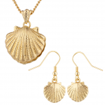 Gold Tone Seashell Pendant Necklace and Earrings Set 2PC