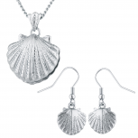 Silver Tone Seashell Pendant Necklace and Earrings Set 2PC