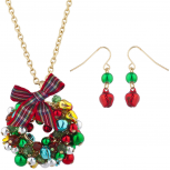 Gold Tone Jingle Bell Christmas Xmas Wreath Necklace Earring Set