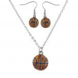 Silver Tone Basketball Sports Necklace Earring Jewelry Set 2PC