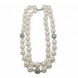 Faux Faux Pearl Rhinestone Ball Glam Link Necklace Matching Earrings