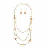 Mulit-Layered Chain Beaded Necklace Earrings Set