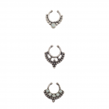 Burnish Silver Tone Body Jewelry Septum Nose Ring Set 3PC