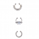 Silver Tone Body Jewelry Septum Nose Ring Set 3PC