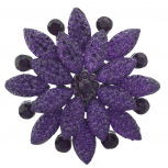 Purple Pave and Crystal Stone Floral Flower Bling Brooch Pin