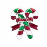 Candy Cane Heart Bow Xmas Christmas Pin Brooch