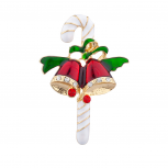 Christmas Holiday Candy Kane and Bell Brooch