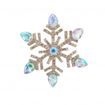 Embellished Christmad Holiday Snowflake Brooch