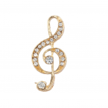Goldtone Treble Clef Musical Note Brooch