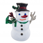 Silvertone Holiday Christmas Snowman Brooch