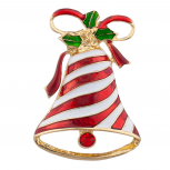 Striped Christmas Holiday Bell Brooch