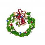 Holiday Festive Christmas Xmas Wreath Bells Stone Brooch Pin