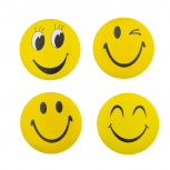 4 Piece Assorted Yellow Smiley Face Pin Brooch Set