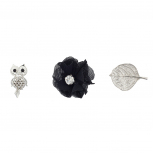 "Silvertone ""Owls"" Pin Set (3PC)"