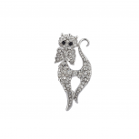 Silvertone Bling Cat Meow Brooch Pin