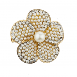 Gold tone Pearl and Rhinestone Floral Flower Brooch Pin