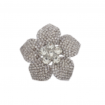 Silver Tone Crystal Pave Rhinestone Flower Bridal Brooch Pin