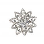 Silvertone Crystal Pave Rhinestone Christmas Snowflake Brooch
