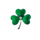 Silver tone Green St. Patrick's Day Three Leaf Clover Brooch Pin